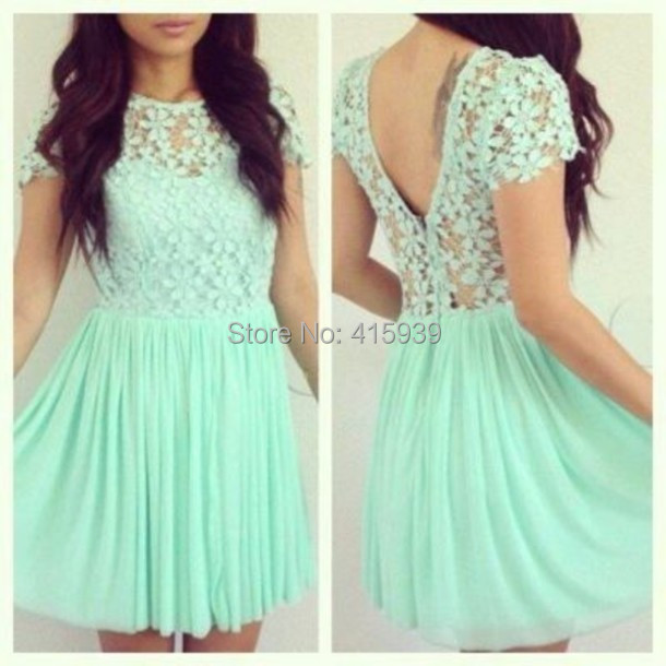 e053ad7afad7 2015 Girly Prom Dress Mint Green Short Sleeves Lace Top Flower Chiffon  Backless Mini Dress Floral Clothes Free Shipping WH419