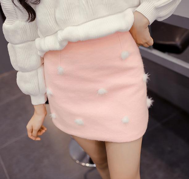 Women Fashion Winter Skirt High Quality Cheap Price Furry Balls Woolen Cute Skirt High Waist A-line Mini Skirt Free Shipping