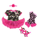 4 Unids por Set Baby Girls Hot Pink Tutu Dress con Banda de Sujeción Zapatos de Estilo Militar Polainas para 0-12months Envío Libre