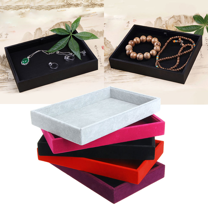 Jewelry Box Accessories Box Velvet Jewelry Rings Earrings Display Show Case Organizer Tray Box Wedding Birthday Gift For Woman