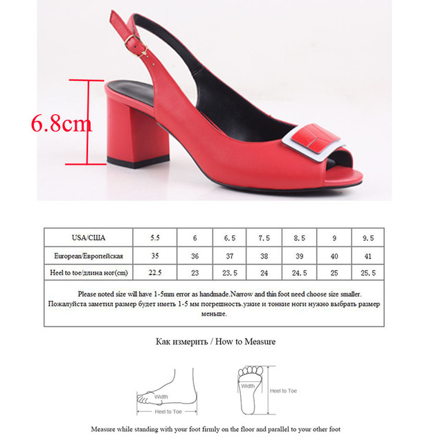 Bacia Sheep Skin Sandals 2017 New Square Pumps Genuine Leather  Red Shoes Women Summer Buckle Strap Sandals 35-41 Size New SA010