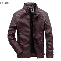 FGKKS Brand Men Leather Jackets 2019 Winter Jacket Male Classic Motorcycle Style Male Inside Thick Coats Men's Leather Jacket