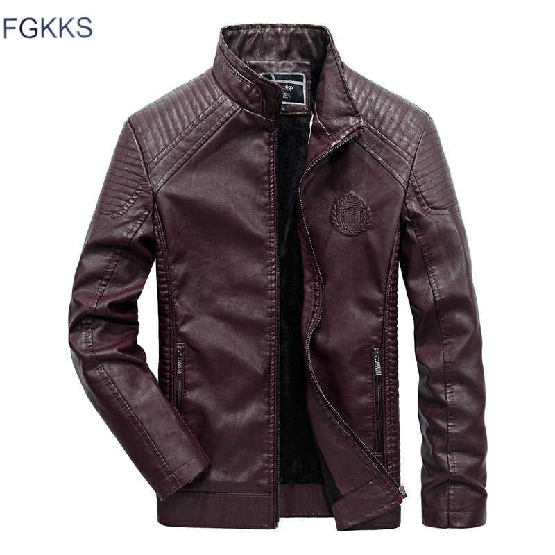 Мужская кожаная куртка FGKKS, коричневый жакет из кожи, утепленная толстая куртка для мужчин, классический байкерский стиль, для зимы 2019