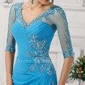 Bem Projetado Para a Mãe da Noiva Vestidos Frisada Metade Mangas Apliques Sereia Ruiva Elegante Longo Vestido de Noite