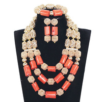 High Quality Original Big Coral Beads African Jewelry Set Dubai Gold Bold Statement Jewelry Set for Women Free Shipping CNR173