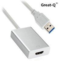 Grand-Q USB 3.0 & 2.0 port à HDMI HDTV Adaptateur convertisseur Câble Externe Carte Graphique adaptador pour windows PC Ordinateur Portable