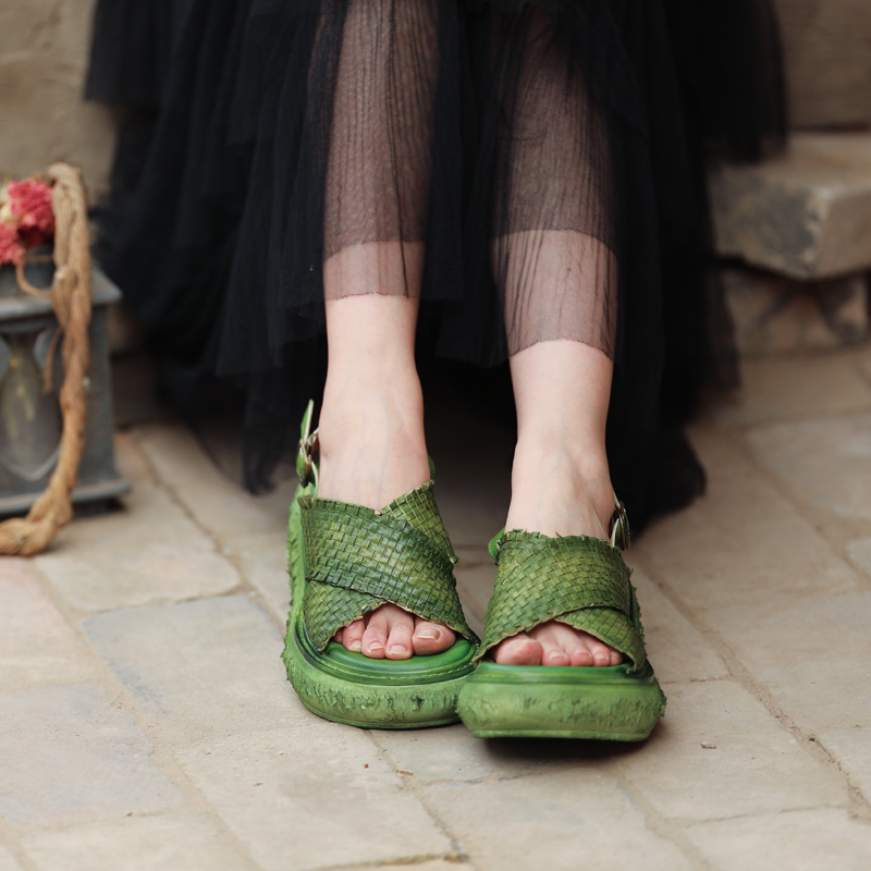 Genuine Leather Women Green Sandals Handmade Women Shoes Summer 6 CM High Heels Wedge Sandals Retro Soft Leather Shoes Slip On tyawkiho genuine leather women sandals embroidery 6 cm high heels sandals wedge summer shoes retro handmade women leather shoes