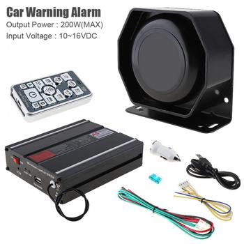 Universal 12V 200W 18 Tone Car Warning Alarm Police Siren Horn PA Speaker with MIC System and Wireless Remote Control