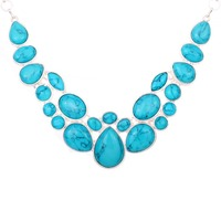 Jewelry Natural Oval Blue Turquoise Bib Chunky Statement Necklace For Women Wedding Party