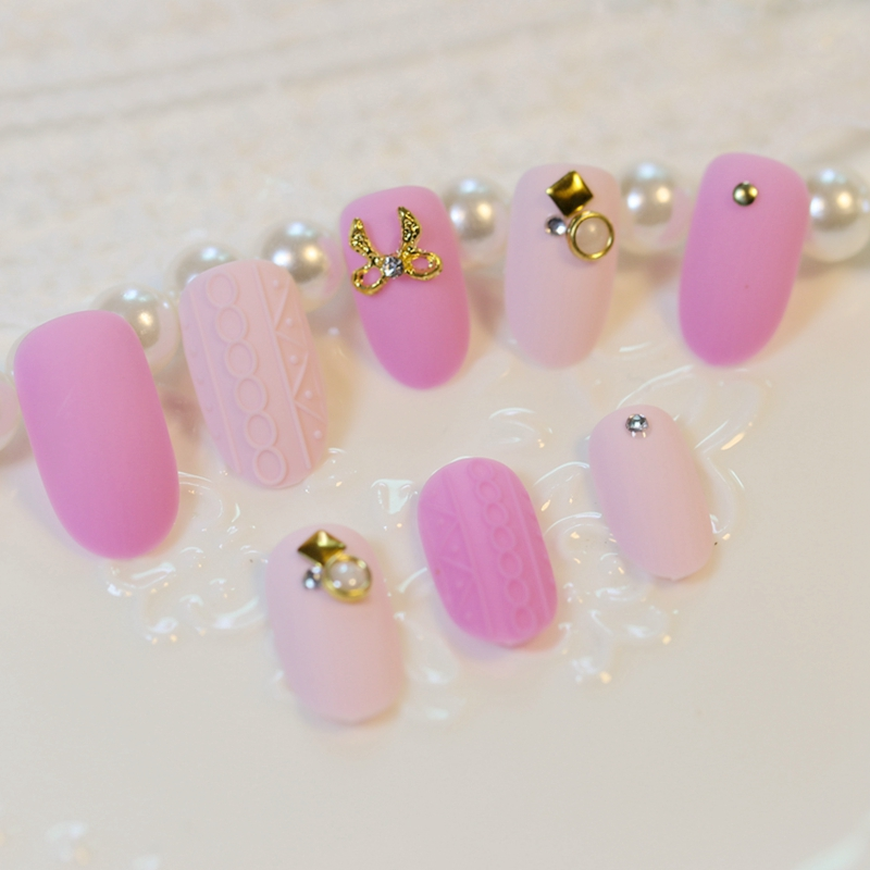 24Pcs Matte Surface False Nails Lovely Pink Embossing Fashion Nail Art Full Cover Flase  ...