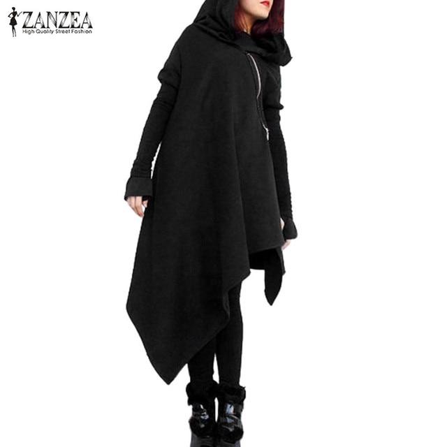 ZANZEA Oversized Herfst Hooded Lange Mouwen Rits Lange Sweatshirt Losse Casual Vrouwen Asymmetrische Solid Hoodies Trui Top Blusa