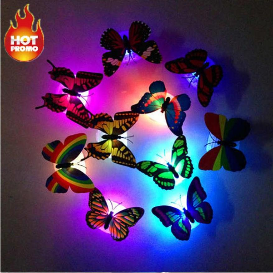 Creative 5/2/15/20 pcs Colorful Changing Butterfly LED Wall Stickers Night Light Lamp Home Room Party Desk Wall Decor Hot 50p