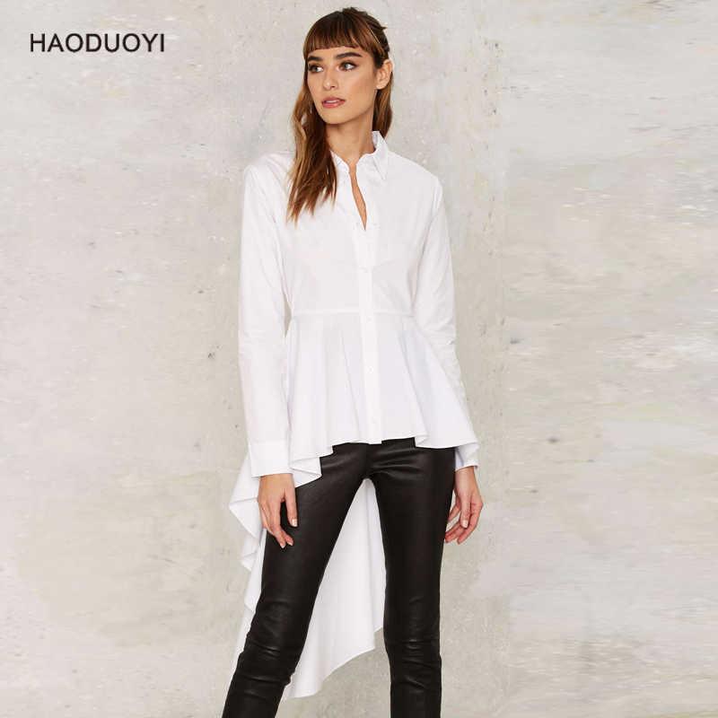 7e6b074a2bd572 Spirng Autumn 2019 Women Vintage Asymmetric Hem Ruffle White Shirt High Low  Tops Long Sleeve Ladies