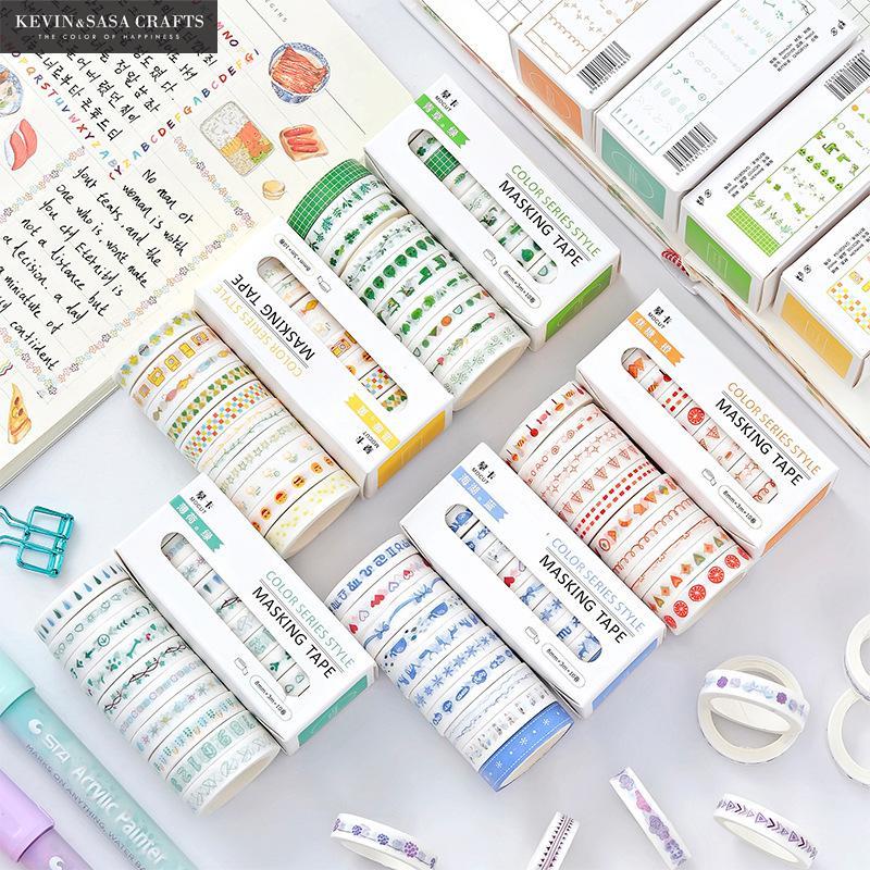 10Pcs/Set Printing Washi Tape 8mm Quality Stationery Diy Scrapbooking Photo Album School Tools Scrapbook Paper Stickers Gift