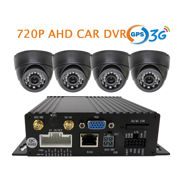 720P 4 Channel SD Card Car DVR and Vehicle Video Recorder DVR + Dome AHD Camera