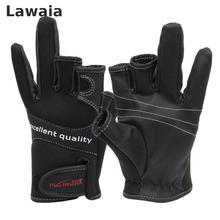 Lawaia Fishing Gloves Dew Black Three-finger Outdoor Palm Slip Riding Lures