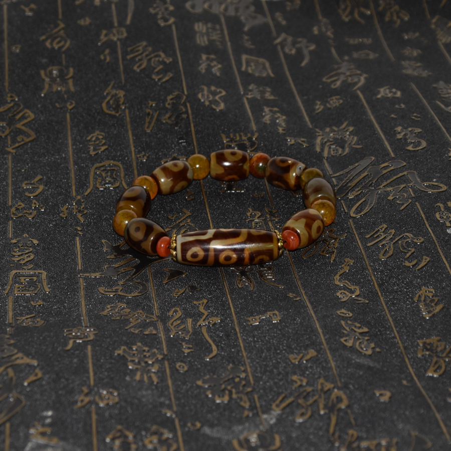 Gathering Fortune 3/9 Eyes Tibetan Agate Dzi Bead Bracelet Natural Agate Bracelet Men&Women's Jewelry Free Shipping