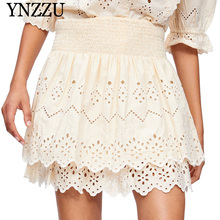 YNZZU 2019 Summer elastic women lace A line skirt Embroidery mini High waist girl holiday party solid YB347