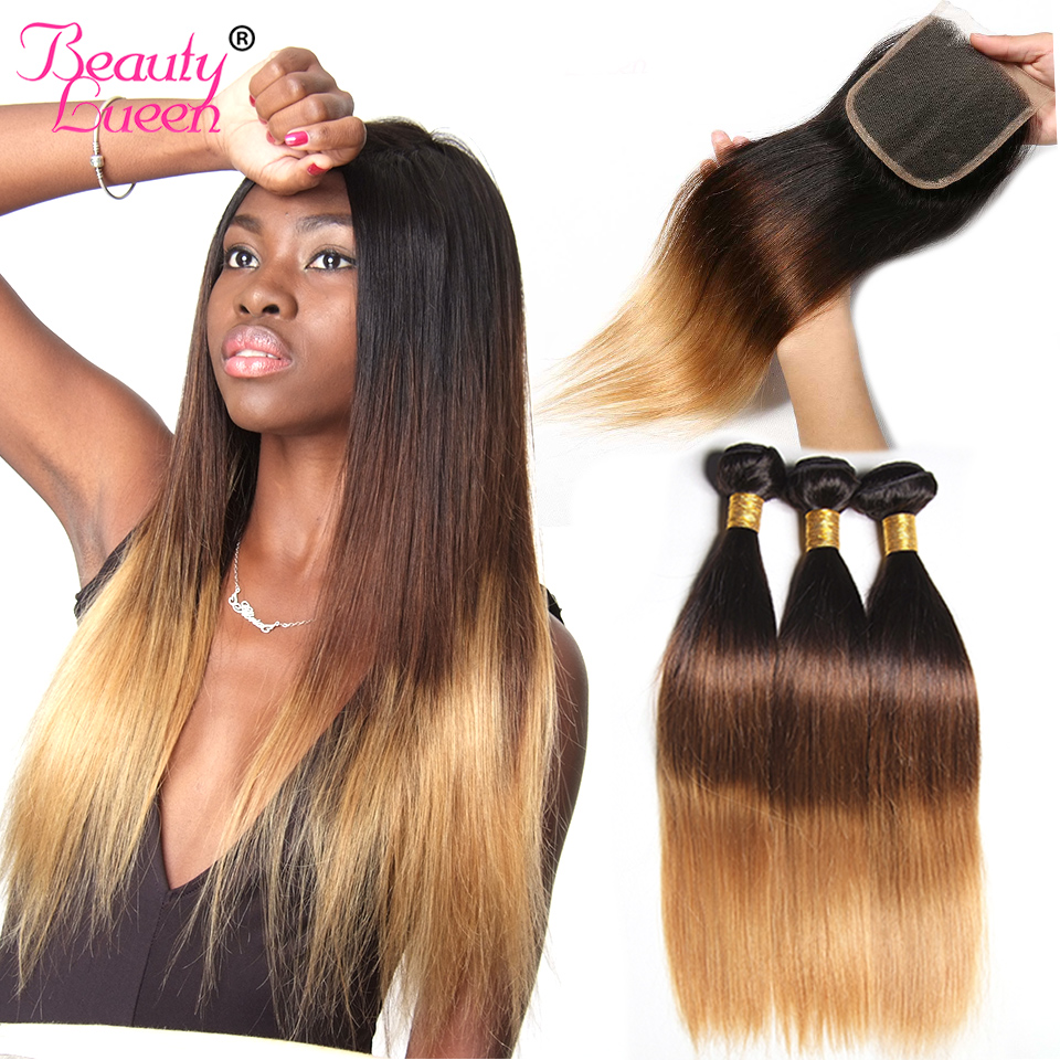 Ombre Brazilian Straight Hair Weave 3 Bundles With Closure T1B427 3 Tone Honey Blond Ombre Human Hair With Closure Remy Hair (1)