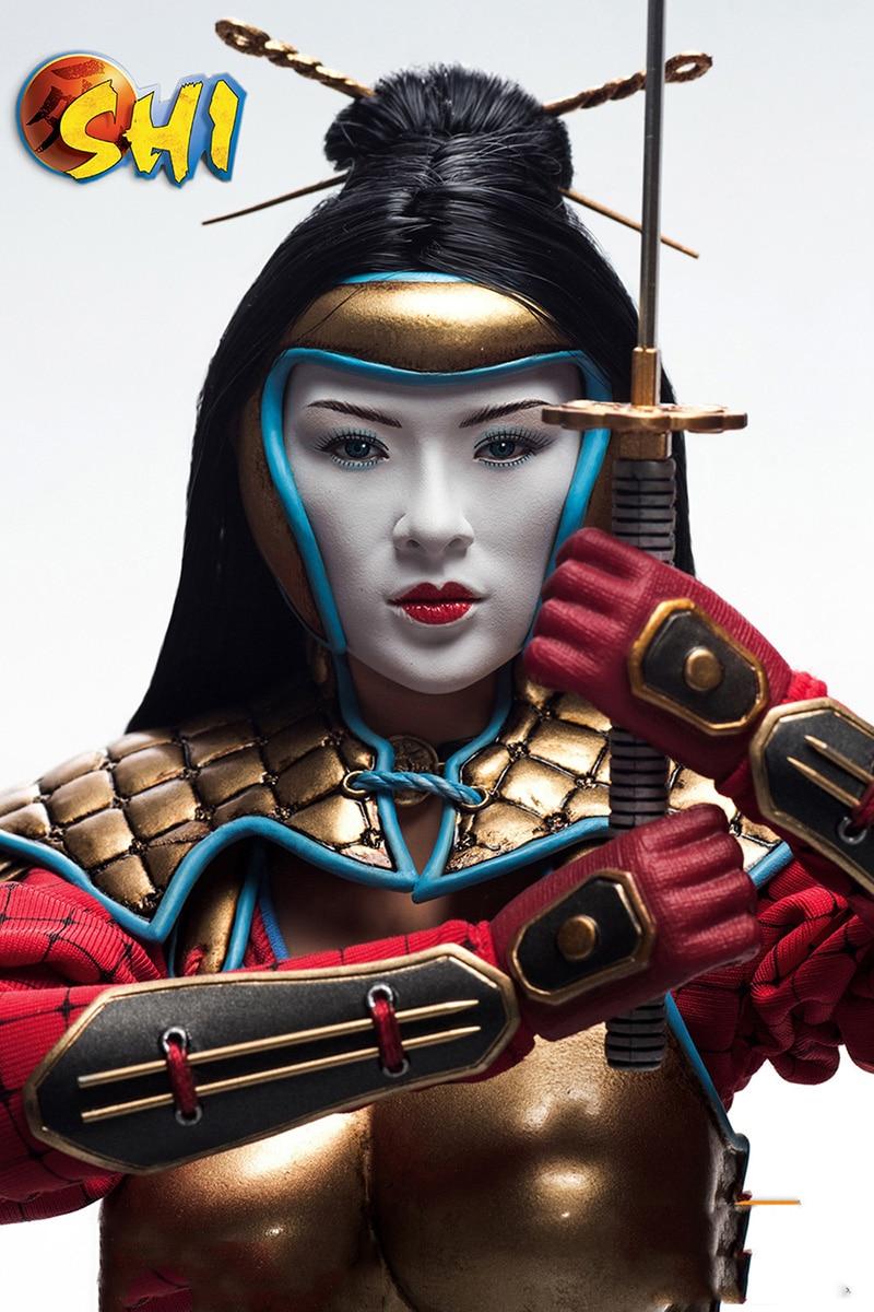 Pour Colelction 1/6 échelle ensemble complet PL2014-71-C Kunoichi SHI modèle de figurine d'action avec deux têtes dans l'armure de combat pour les cadeaux des Fans - 4