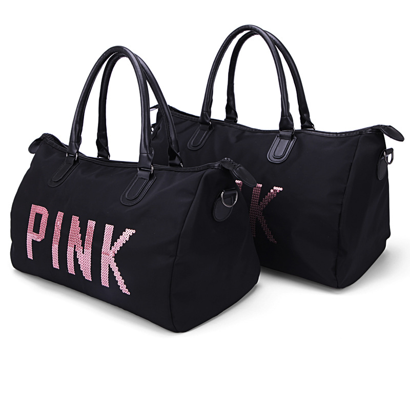 2018 Black Sequins Letters Duffle Bag Women Gym Bags Tote Beach Handbag Travel Shoulder Traing In From Sports Entertainment On