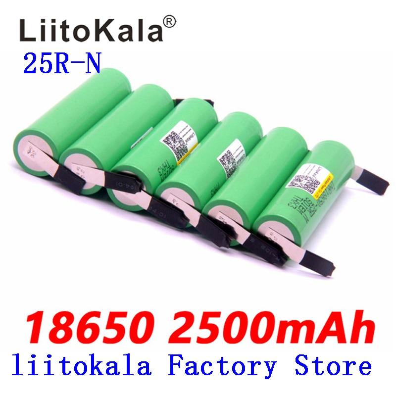 2019 liitokala 100% original 18650 2500 mah bateria 3.6 v inr18650 25r m 20a descarga 18650 bateria + número diy