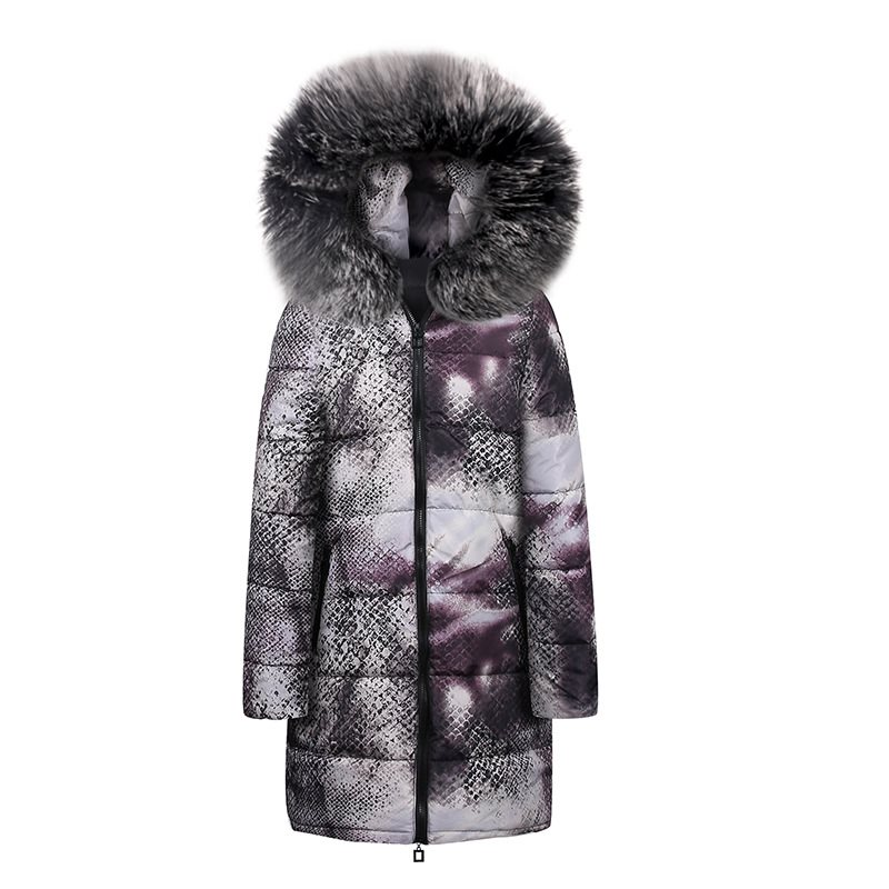 Casual Winter Jackets Fur Blue Plus Size Coats Womens   Parka   Slim Print Long Outwears Gray 2019 Warm Female High Street Overcoats