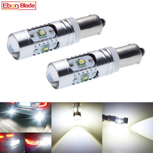 2Pcs High Power Canbus Error Free White BAY9S H21W 64136 XBD 25W LED Lights Reverse Parking Bulb Lamps Free Shipping 2pcs high power canbus error free white amber ba9s t4w bax9s h6w bay9s h21w 64136 xbd 11w led lights reverse parking bulb lamps