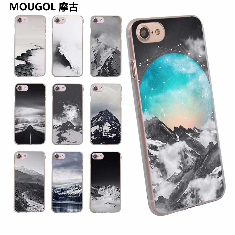 MOUGOL LACK Snow Mountai design transparent clear hard case cover for Apple iPhone 6 6S 6Plus 7 7Plus 5 5s SE 5C