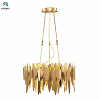 Post Modern Luxury Plate Metal DIY Led Pendant Lights Living Room Round Leaf Shape Adjustable Hanging Lamp Pendant Lamp Fixtures