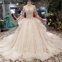 80f661f9326cc ... Dantel Zarif gelinlikler. Teklifi Göster. Luxury Long Sleeves Wedding  Dresses 2019 Lace Stones Glitter Chapel Train Real Photos Custom Made China