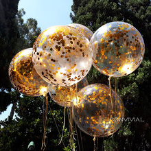 36inch Gold Confetti Balloons Wedding Party Decoration Rose Latex Happy Birthday Supplies