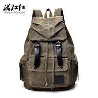 Manjianghong Casual Men S Backpack Bag Dark Green Bag High Quality Infantry Pack Strong Canvas Rucksack