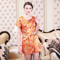 The New Spring And Summer Silk Nightgown Sexy Home Dress Nightdress Fashion Tracksuit Light tan Orange Red Three Color Options