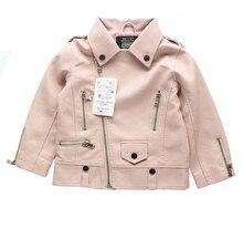Girl pink leather jacket 2017 autumn new zipper shirt  PU leather jacket