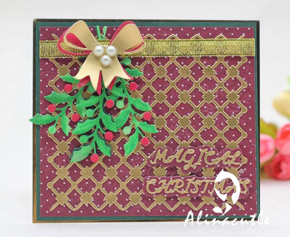 Christmas Scrapbook Paper.Alinacraft Metal Cutting Dies Cut Die Christmas Leaf Cherry Berry Branch Scrapbook Paper Craft Card Album Punch Knife Art Cutter