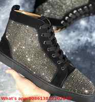 Lovers High Top Leisure Lace Up Black Suede Leather Gray Rhinestones Red Bottoms For Man Shoes Sneakers Tie Casual Flat