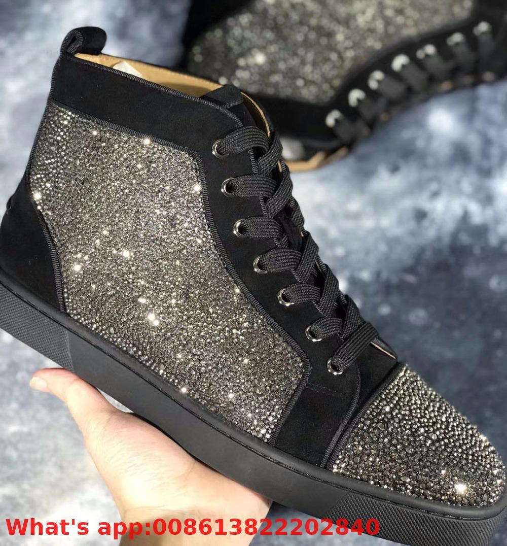 Os amantes de Alta Lazer Top Lace Up Preto Cinza Camurça Strass Sapatos de Fundo Vermelho Para O Homem Tênis de Amarrar Casuais Plana