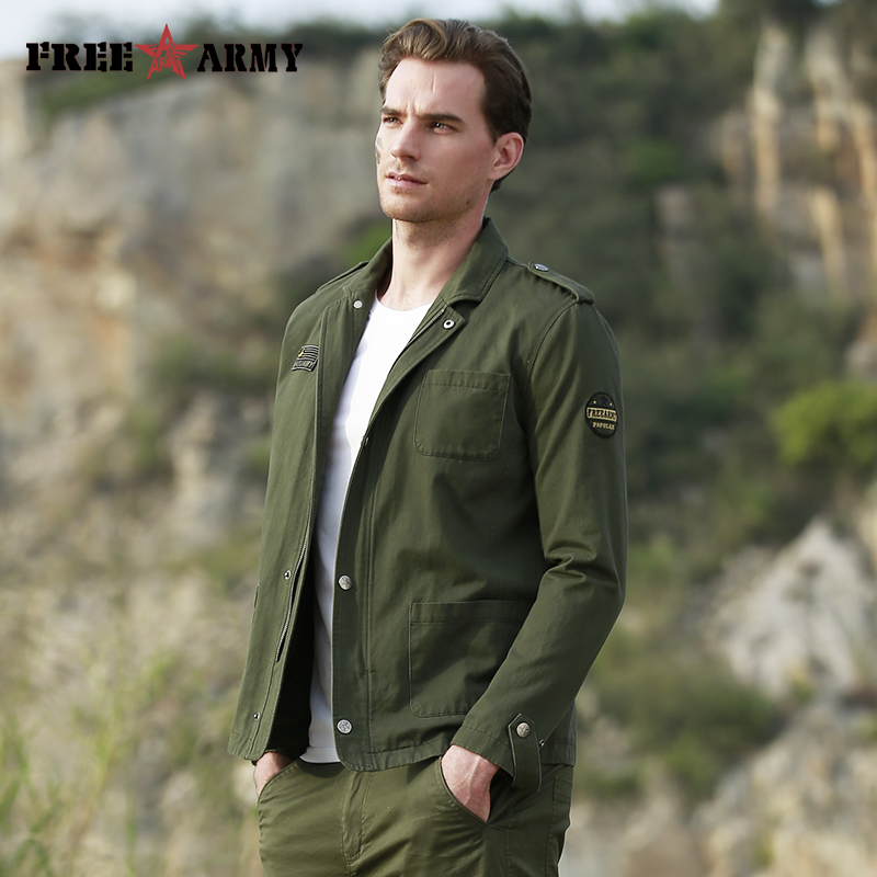 Free Army 2018 New   Trench   Coat Men Windbreaker ArmyGreen Long Sleeve Spring Autumn Coat Turn-down Collar High Quality Coat