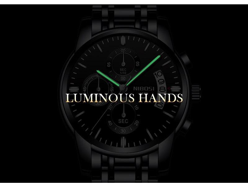 6be87e38add6 Relojes de alta gama de los hombres de lujo reloj impermeable NIBOSI moda  Color en múltiples colores multifuncional Acero inoxidable piel de becerro