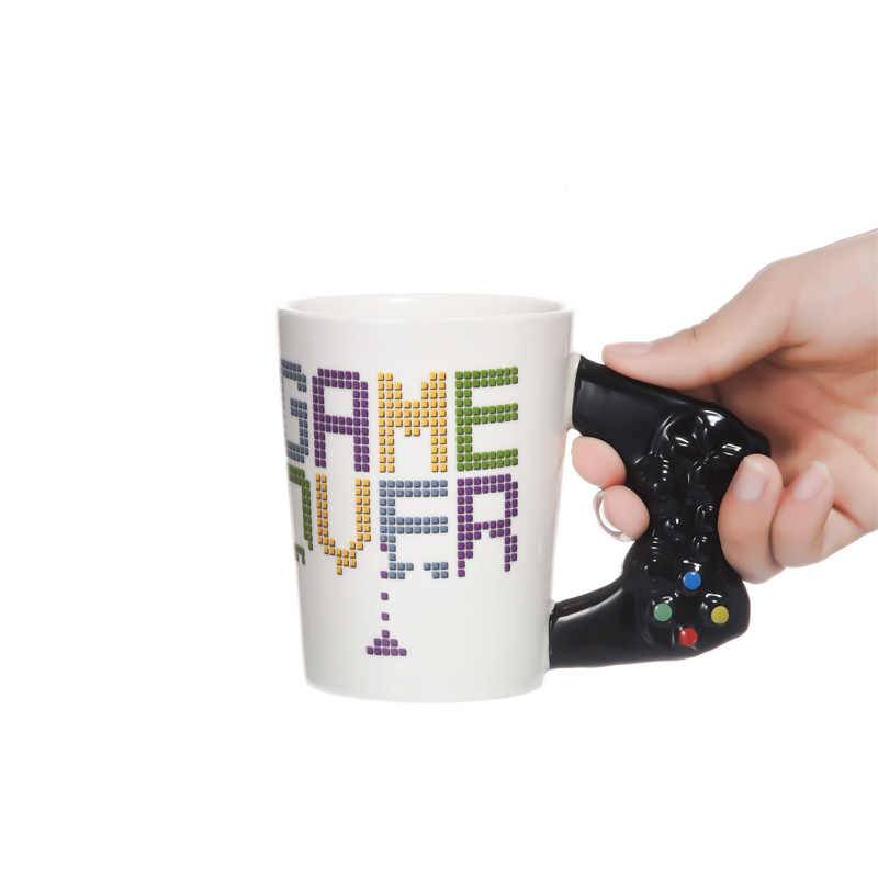 1Piece Game Over Ceramic Mug Gaming Style Retro Gamepad Controller Coffee Milk Juice Mug Office Tea Cup Gamer Birthdat Gift