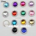20PCS/PACK 20mm  rhinestone acrylic stone center crystal  alloy button  button flatback for wedding bow DIY accessory
