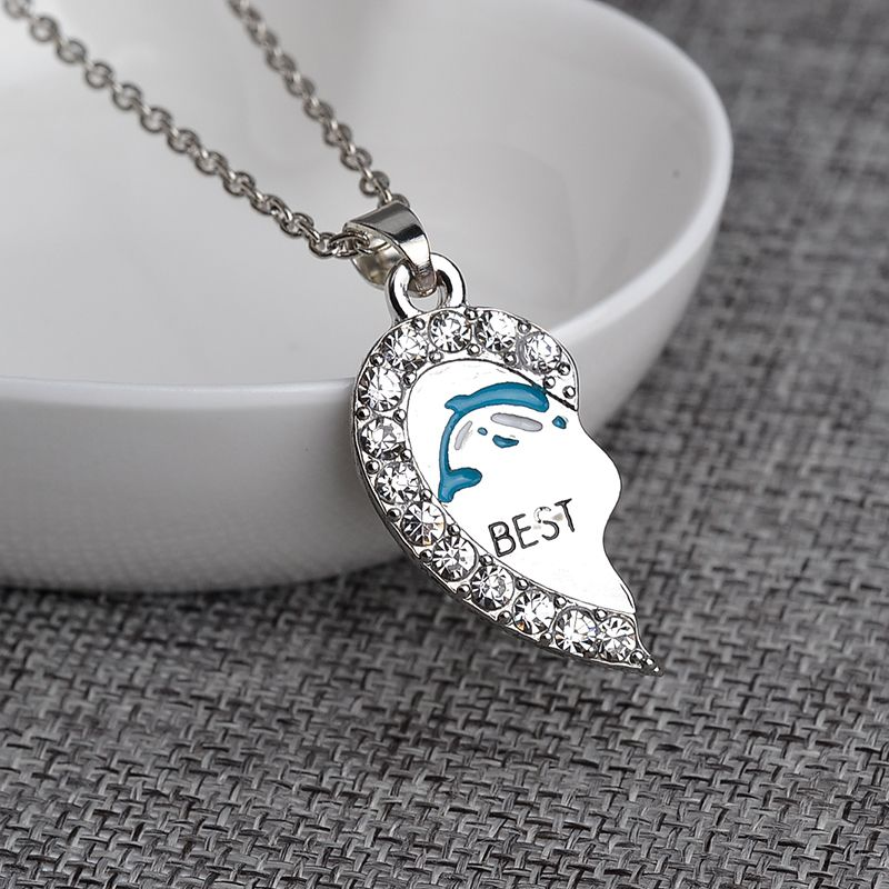 Romantic silver Best Friends Letter print a pair Dolphin Rhinestone Pendant Necklace animal porpoise delphis Necklace Jewelry