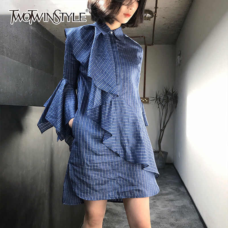 85b416001b6 TWOTWINSTYLE Ruffles Shirt Dress Female Striped Patchwork Flare Sleeve  Irregular Mini Dresses Summer Fashion Korean Clothing