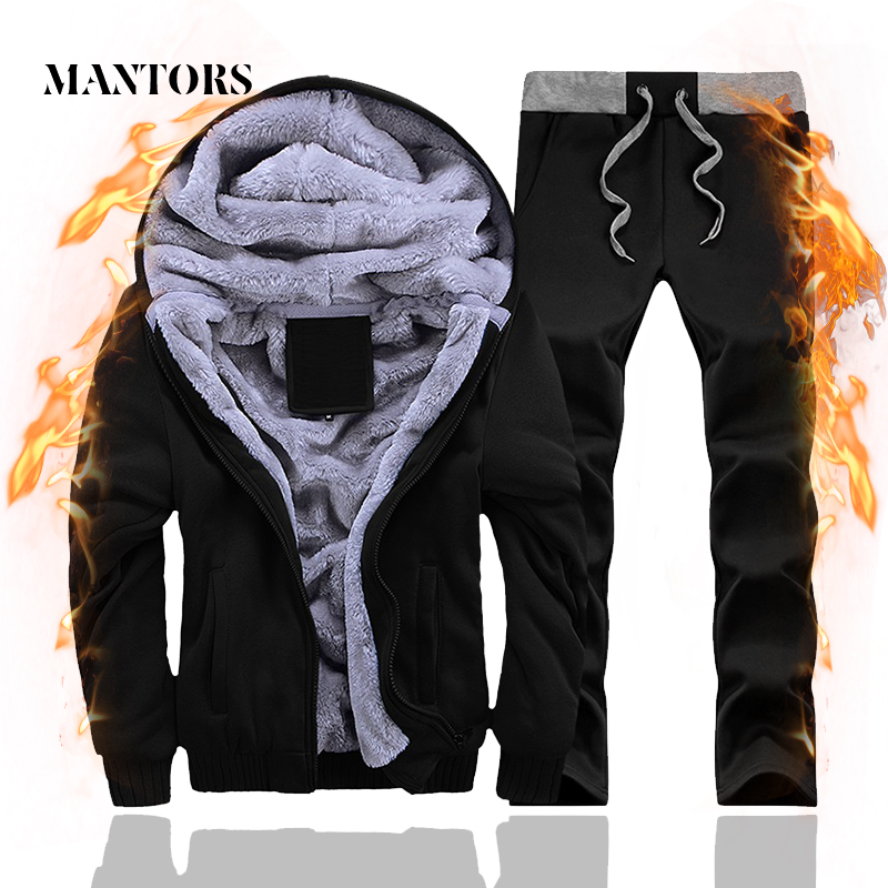 2019 Tracksuit Men Winter Thick Inner Fleece Hooded Set Mens Casual Suit Male Outwear Zipper Sweatshirts+Pants Sets Plus Velvet
