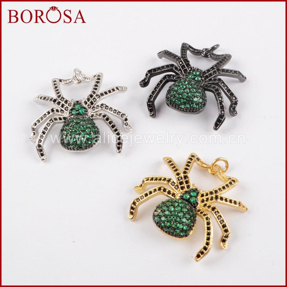 BOROSA New Design Spider Pendant Green Insect Pest Bugs Pendant Bead, Micro Pave Cubic Zircon CZ Pendant for Women Jewelry WX832