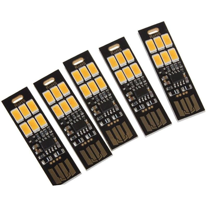 5Pcs 6-LED Night Light Soshine USB Power 1W 5V Touch Dimmer Warm White Light New 1w 10 led 70lm white bendable usb light translucent white black