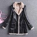 Nova Moda Outono Inverno Mulheres pu couro de espessura de veludo longo casaco feminino plus size do Revestimento do revestimento