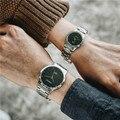Único de la manera de Los Hombres de Las Mujeres Relojes de Cuarzo Fresco Parejas Amantes Completa de Acero Inoxidable Reloj de Señoras Vestido Reloj de Los Hombres Relojes Reloj