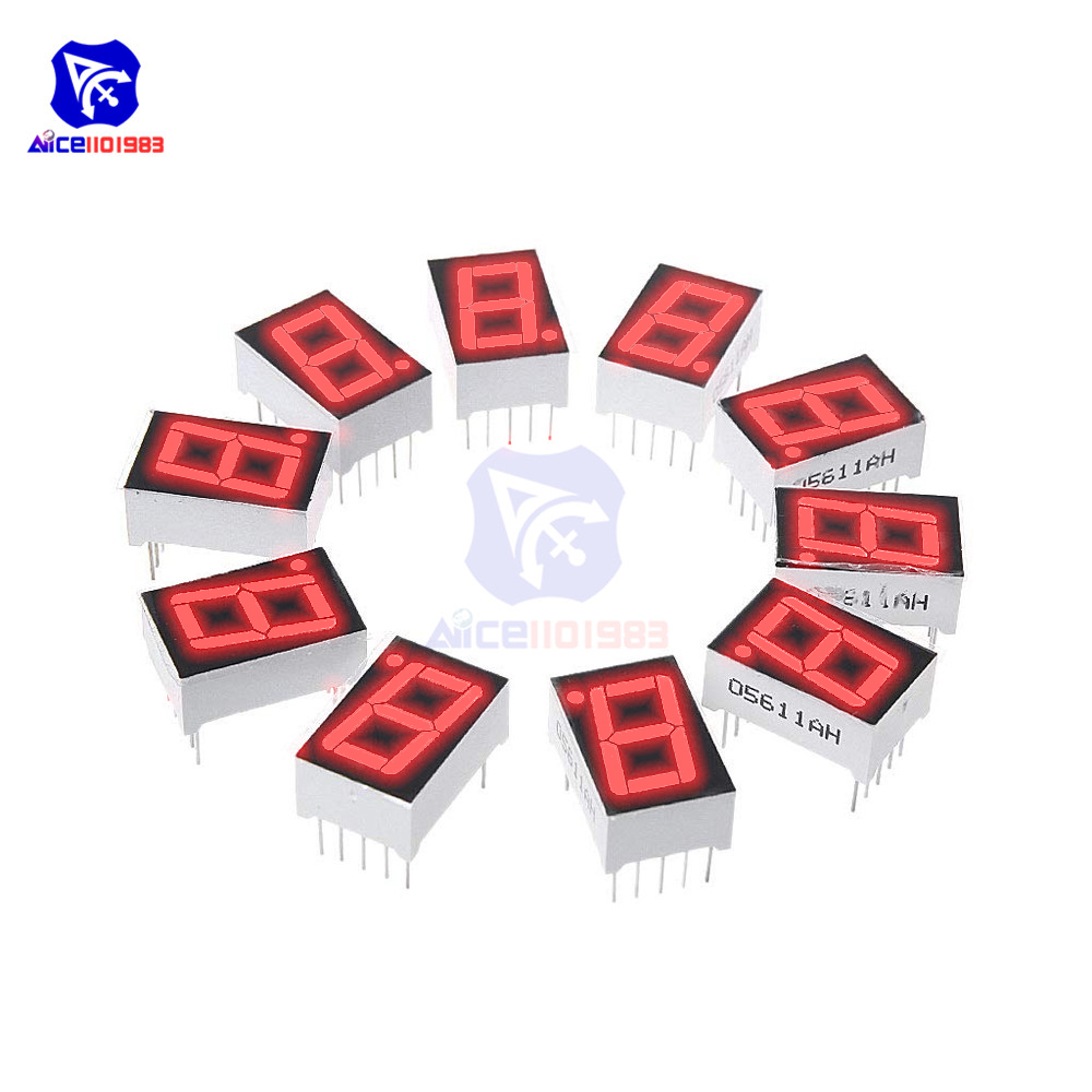 10PCS/Lot 0.56 Inch 7 Segment 1 Bit Digital LED Display Red Common Anode LED Digital Tube Red For Home Appliance Car Accessories